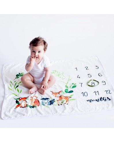 Manta crecimiento animalitos para hacer fotos al bebé