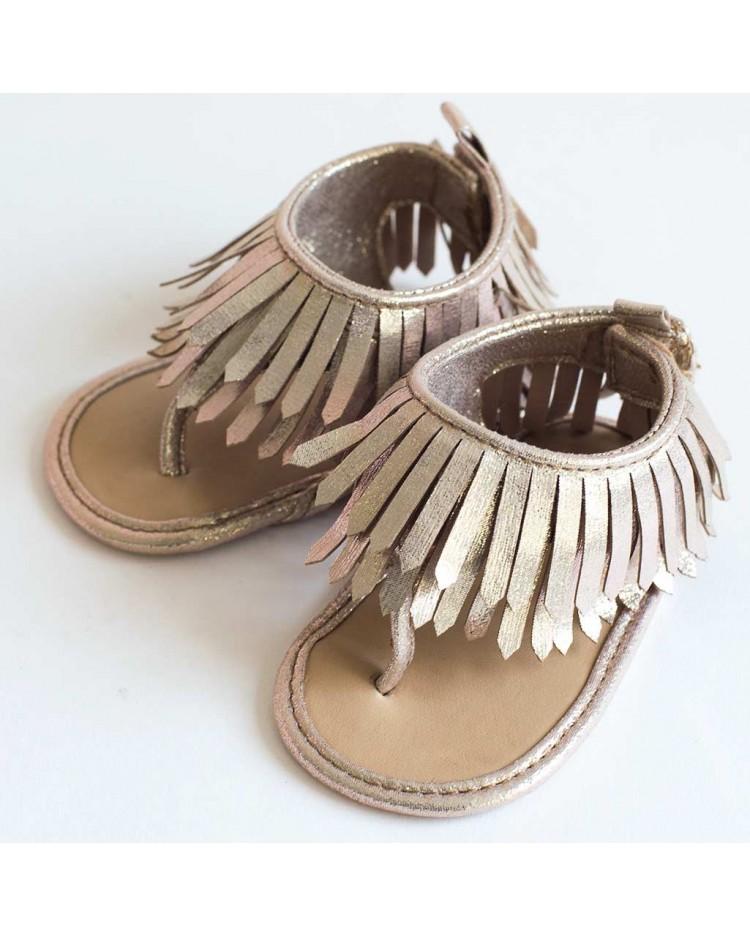 Sandalias para bebé flecos dorados