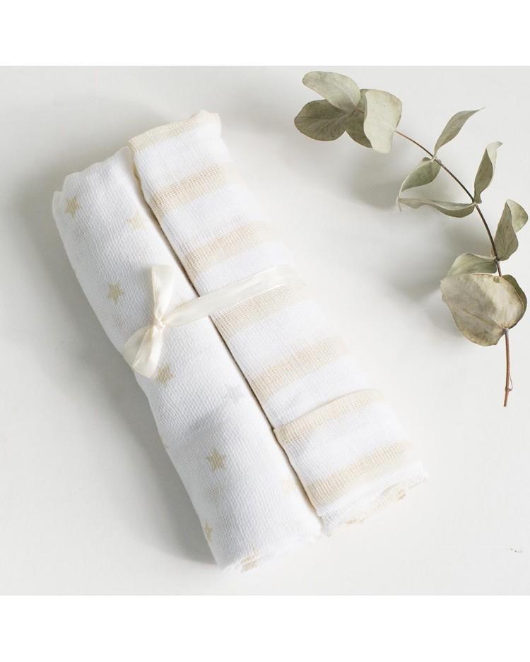 Muselina bebé algodón rayitas - set de 2