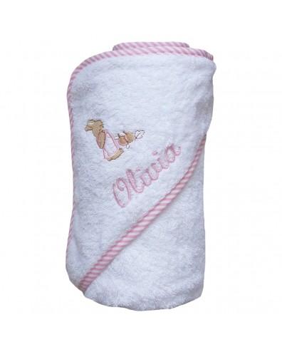 Capa de baño para bebé con nombre bordado rosa