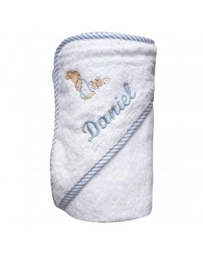 Capa de baño para bebé con nombre bordado celeste