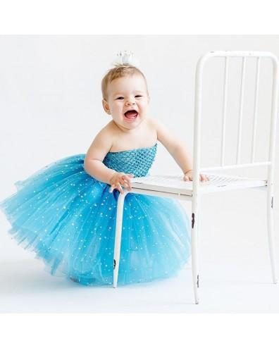 Falda tul con estrellas plata para beb