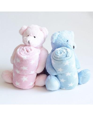 Canastilla en tonos rosas y blancos para niños
