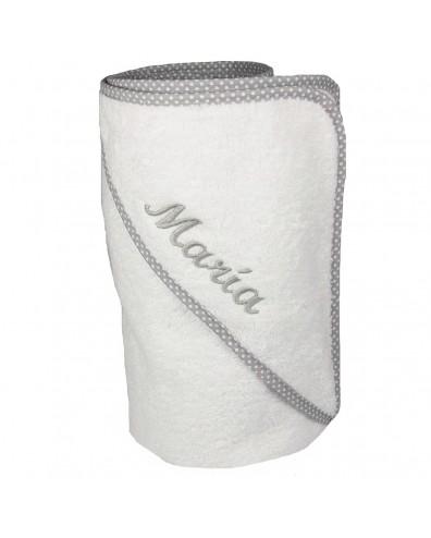 Capa de baño con ribete gris lunares con nombre bordado