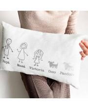 cojines personalizados con el dibujo y nombres de la familia