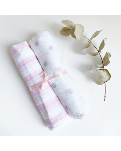 Muselina bebé algodón rosas...