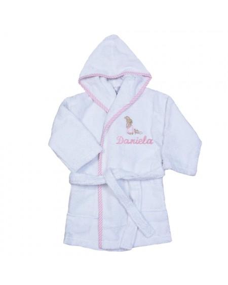 Albornoz para niñas con el nombre bordado en rosa